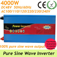 4000W Off grid Pure Sine Wave Inverter , power supply from DC48V To AC 90-140V or AC 220-240V voltage converter with usb port