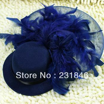 1pcs Dark Blue Women Xmas Cocktail Dancing Party Wedding Lady Feather Accessory Mini Top Hat Veil Fascinator Girl Hair Clip