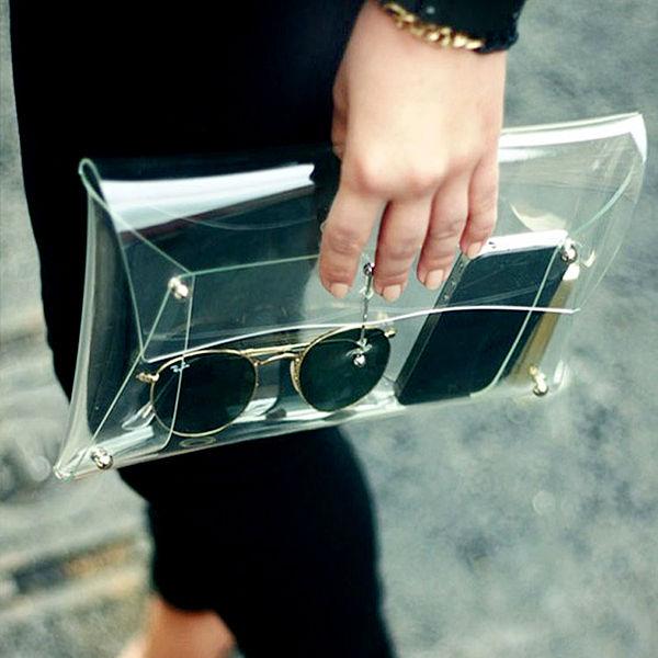 New 2014 Fashion Designer Unisex PVC Transparent Envelope Clutch ipad Clear Color Bag Handbag For Women(China (Mainland))