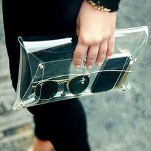 New 2014 Summer Fashion Unisex PVC Transparent Envelope Clutch ipad Clear Color Bag Handbag For Women(China (Mainland))
