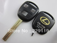 Free shipping  3 hole button straight transponder Toy48 car remote case key blank shell  long blade High Quality for Lexus
