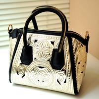 High quality! New 2014 Fashion PU Leather Women Handbag Carved Shoulder Bags Cross-body Women Messenger Bags Totes Women's Bag