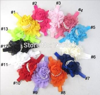 2013 newborn Headbands fabric flowers Chiffon flower rose pearl flower baby  elastic headbands girls hair accessories10pcs/lot