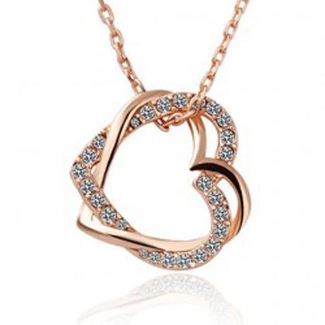 Fashion 18K white gold plated austrian crystal full rhinestone double heart pendant necklace(China (Mainland))