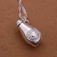 Free Shipping!Wholesale 925 Silver Necklace & Pendant,925 Silver Fashion Jewelry Drift Bottle Necklace SMTN299