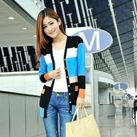 women's  stripe patchwork sweater cardigan femal shirt outerwear