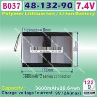 [B037] 7.4V,3200mAH,[4890132] PLIB ; polymer lithium ion / Li-ion battery  for tablet pc,power bank,cell phone,speaker
