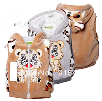 free shipping 2013 the spring autumn winter clothes kids' boy girl children outwear waistcoat kids tiger fur vest baby clothing
