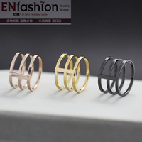18KGP gold plated fashion 3pcs punk rings finger ring fashion midi ring 316L stainless steel jewelry wholesale free shipping