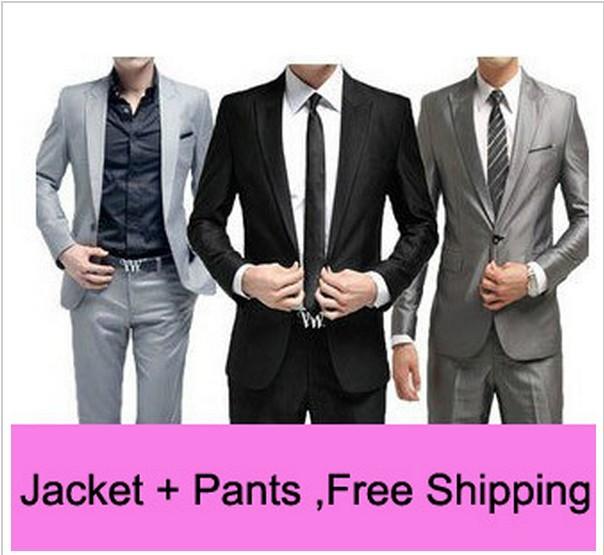 Free Shipping Slim Custom Fit Tuxedo Bridegroon Men Business Dress Blazer Suits,Fashion Suit Blazer,XS-3XL 5 Colors Jacket+Pants(China (Mainland))