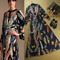 2014 Summer New High Quality Fashion Women Long Sleeve Elegant Feather Print Long Novelty Dresses