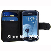 Leather Card Wallet Flip Case Cover For Samsung Galaxy S III 3 Mini i8190+Free Screen Protector+Free Stylus Pen Free Shipping