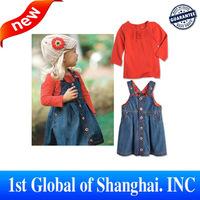New 2013 Autumn Girls Dress Kids Designer Clothes Fashion Two-Piece Causel Dress Set For Girls