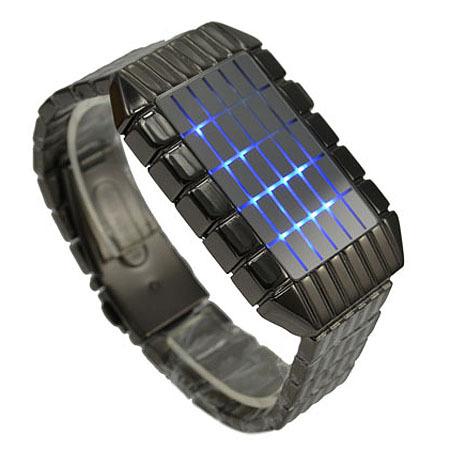 Best Gift ! Fashion Design Blue LED Light Dot Matrix Mens WATCH Sport Hight Quality Free Shipping(China (Mainland))