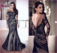 N-012 New Stock Mermaid Long Sleeve Appliqued Fall Prom Dress Women Party Dress