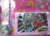 New Lot 6pcs  Monster High Watches wristwatches with + Purses Wallets