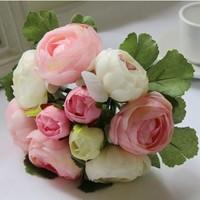10 buds/bouquet  rose artificial flower silk decoration flower tea bountyless photography props bride holding flowers 4 colors