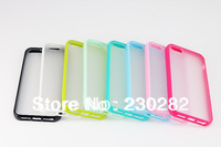 High Quality PC Matte Transparent Back Case Cover with Candy Colorful Edge For Apple iPhone 5 5G Cells Phone case cover