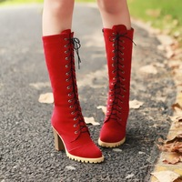Free shipping 1pcs/lot 2013 new  fashion front strap martin boots thick heel high-heeled high-leg boots red