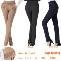 Womens Pants & Capris Spring Winter Fashion OL Rhinestones Skinny Pants, New 2014 OL Slim Harem casual pants lady work wear 3XL