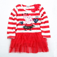 2014 New Arrival18m/6y 100% Cotton Dress Printed Lovely Peppa Pig with Embroidery Tunic Top Hot Summer Baby Girl Mini dress TZ17