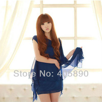 2014 Summer Hot Sale Women Dress Thin And Elegant Navy Blue Strapless Irregular Sleeveless Vest Ladies Dress