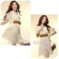 New 2014 Women Hot Style Retro Lace Chiffon Dress With Belt