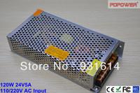 120W 24V AC/DC switch mode power supply, single output, CE/RoHS/FCC/IEC certified, high reliability
