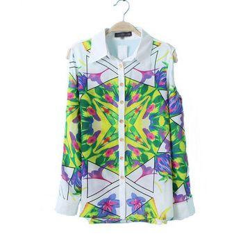 Long Sleeve Off Shoulder Flower Printed Blouses & Shirts Chiffon Women's Clothing Blusas Femininas 2015 Summer European Style