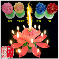 10pcs/lot freeshipping Beautiful Blossom Lotus Flower Candle Birthday Party Cake Music Sparkle