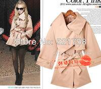 2014 Hot!!!Free shipping!Fashion special Temperament Slim cape-style coat jacket beige dark blue pink
