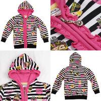 2014 New Arrival 18m/6y NOVA Kids Wear Coat Girls Printed Super Kawaii Striped Zip-Up Girls Jacket 100% Cotton Hoodies tz13