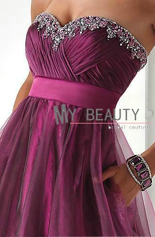 Promotion Best Selling A-line Beaded Grape Guest Dress Formal Custom ...