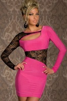 2013 Sexy Ladies Party Long Sleeve Black Lace Slim Mini Dress Summer Clubwear Free Shipping