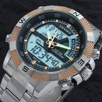 Relogios masculinos 2014 Men's Military LED Analog Dual Time Date Alarm 3ATM Waterproof Quartz Mens Sport Digital Watches Quartz