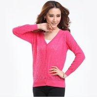 2013 new fall Hollow Cozy Breathable Women's Sweater Crochet Long sleeve Cotton Knitting coat