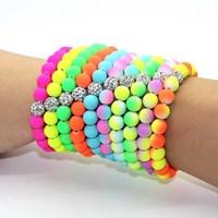 2014 New HOT! Fashion Women Bracelet  8mm Colorful Fluorescent Neon Shamballa Beads Stretch-proof  Charm Bracelet