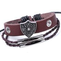 european design ancient rome style bracelet shield charm man rope braided leather bracelet wrap