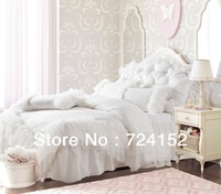 Romantic white falbala ruffle lace bedding sets/princess duvet cover set,solid color comforter sets, full queen king