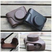 Black Dark Brown Leather Camera Hard Case Bag Cover For Fujifilm Fuji X10 X20 Finepix + Free shipping