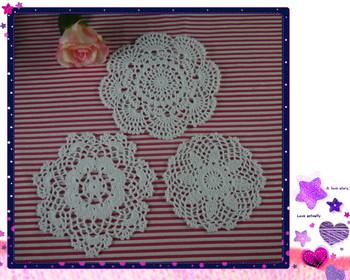 Handmade Crochet pattern doily 3 designs cup Pad mats table cloth coasters 16-20cm 30pc/lot Custom Colors