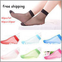 Free Shipping Women Socks Comfortable Transparent Thin Crystal Socks/ Gril's socks 40PCS=20Pairs Wholesale