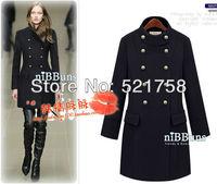 New handsome  fashion double-breasted coat jacket dress buckle Black Camel jacket