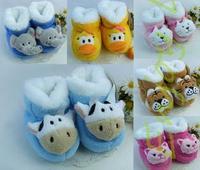 2013 Hot Sale   Lovely Animal Model Of Coral Fleece Baby Warm Cotton Shoes Prewalker