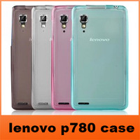 New 2013 Product transparent Soft silicone TPU protective case Cover for lenovo P780 Mobile phone+Free Shipping