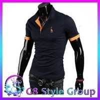 2014 Free Shipping  New Casual Men's Stylish Slim Short Sleeve Shirts Fit   Polo T-Shirts For Men Tee 3 Color 4 Size