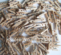 (min order 10$ )Free Shipping 200Pcs/Lot  Mini 24mm Wooden Clothes Photo Clips Wood clip