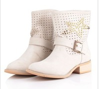 2013 women of the new European and American fashion star bright bright pearl short boots for women's shoes