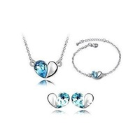 wholesale OL Style 18K white gold Austrian crystals fashion Pendant heart Earrings+necklace+bracelet Jewelry sets free shipping