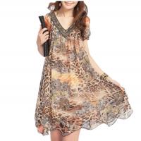 Free shipping women plus size 2013 loose silk leopard print chiffon one-piece dress,Bohemia long casual dress,M L XL XXL 3XL 4XL